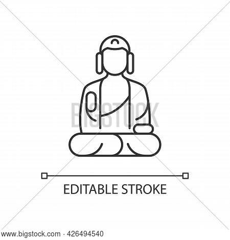 Shan Buddha Museum Linear Icon. Buddhist Faith Architecture. Bliss Statue. Thin Line Customizable Il