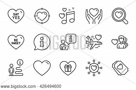 Love Icons Set. Included Icon As Say Yes, Man Love, Heart Target Signs. Dating Network, Hold Heart,