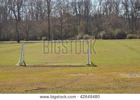water   soaked  soccer  field