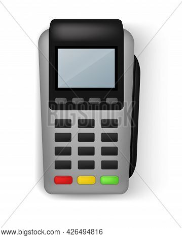 Payment Terminal. Realistic Banking Electronic Equipment. Wireless Gadget To Pay For Purchases. Fina
