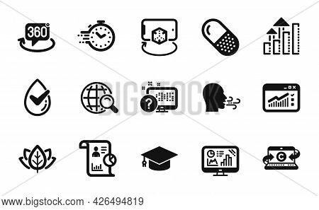 Vector Set Of Copywriting Notebook, Graduation Cap And Web Traffic Icons Simple Set. 360 Degree, Der