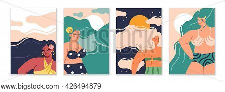 Female Long Hair. Cartoon Women With Wavy Hairstyle. Cute Characters Wear Swimsuits. Beautiful Femme