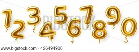 Golden Number Balloons. Realistic Metal Air Party Decor. Anniversary Celebration Numeral Shapes From