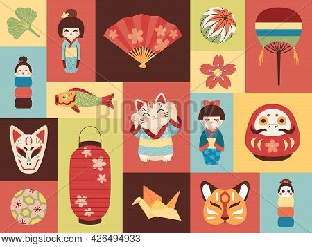 Japanese Toys. Asian Cultural Elements. Mini Banners With National Items. Lucky Symbols. Kokeshi Dol