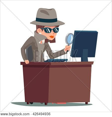 Pc Search Woman Snoop Detective Magnifying Glass Tec Agent Online Cartoon Design Vector Illustration