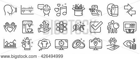 Set Of Business Icons, Such As Synchronize, Hold Heart, Hat-trick Icons. Chemistry Atom, Search Peop