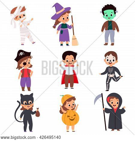 Trick Or Treating Kids. Cartoon Boys And Girls In Festival Costumes. Halloween Outfits. Isolated Ske