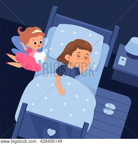 Tooth Fairy And Sleeping Child. Cartoon Girl In Bed And Cute Flying Sorceress Holds Baby Teeth. Nigh