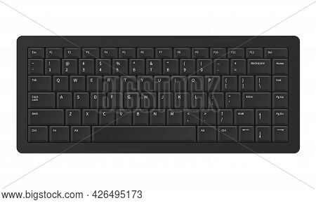 Black Keyboard. Realistic Modern Qwerty Keypad. Digital Panel Buttons With Alphabet Letters And Numb