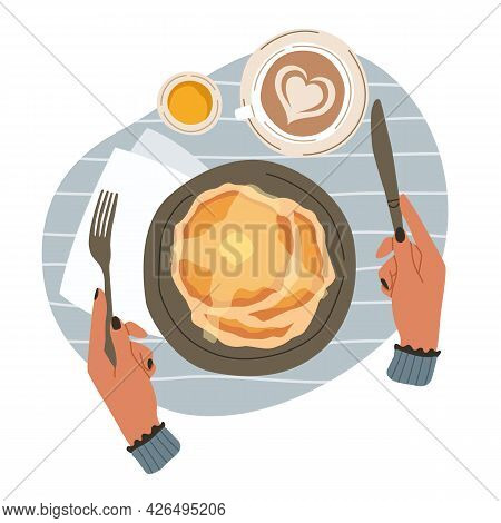 Breakfast And Hands. Top View Of Morning Meals. Cartoon Person Eats Brunch With Knife And Fork. Tast