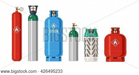 Cylinders Gas. Lpg Propane Container. Metal Balloon For Compressed Oxygen And Flammable Fuel. Isolat