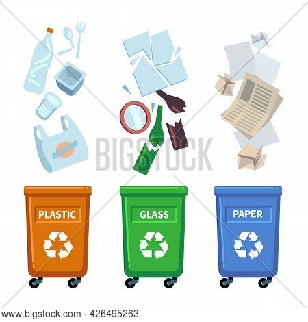 Trash Bins. Different Types Containers For Waste Sorting. Separation Of Plastic, Glass And Paper Gar