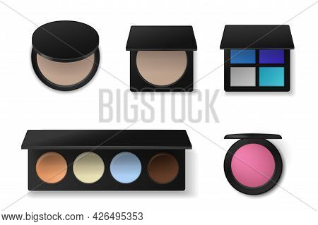 Professional Cosmetics. Realistic Eyeshadow Or Concealer Palettes. Face Powder And Blush. Makeup Pro