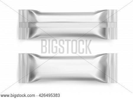 Sachet. Realistic White Sugar Packet. 3d Blank Foil Packaging Mockup For Branding. Snacks Packages.