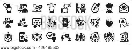 Set Of People Icons, Such As Presentation Board, Pay Money, Quiz Test Icons. Ranking Star, Search Em