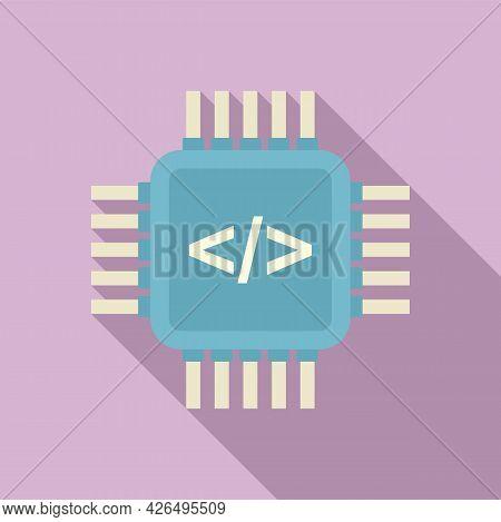 Programming Processor Icon Flat Vector. Arduino Software. Education Robot
