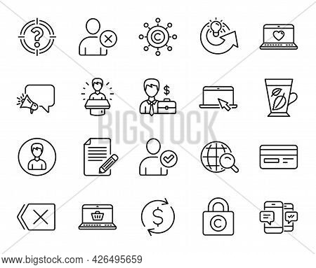 Vector Set Of Megaphone, Remove And Web Love Line Icons Set. Mint Leaves, Article And Dollar Exchang