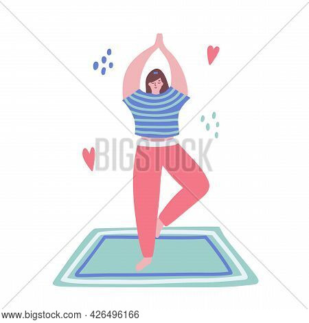 Woman Is Doing Gymnastic Pose On The Mat. Pilates, Yoga. Wellness Concept. Sport Healthy Lifestyle.