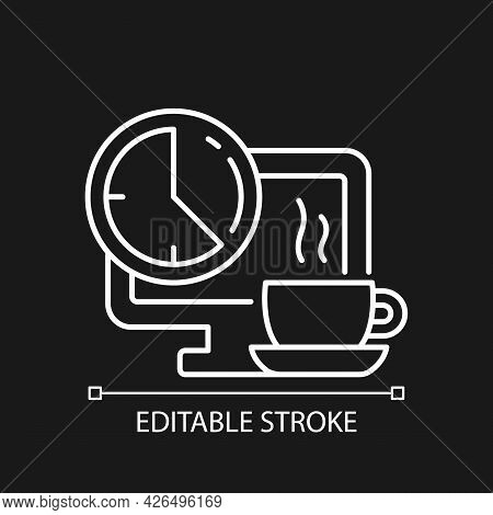 Breaks In Work Graphic White Linear Icon For Dark Theme. Time For Rest On Workplace In Office. Thin