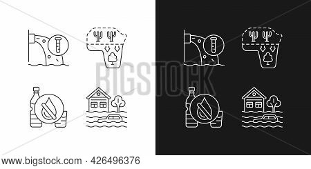 Water Stress Linear Icons Set For Dark And Light Mode. Desert Expansion. Urban Runoff Management. Cu