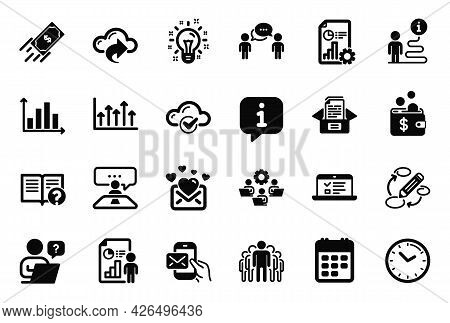 Vector Set Of Education Icons Related To Cloud Computing, Time And Fast Payment Icons. Calendar, Mes