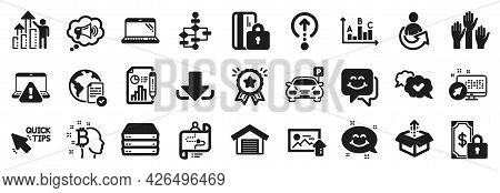 Set Of Technology Icons, Such As Private Payment, Send Box, Smile Chat Icons. Parking Garage, Bitcoi