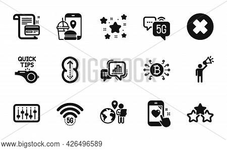 Vector Set Of Stars, Bitcoin System And Dj Controller Icons Simple Set. 5g Wifi, Graph Chart And Foo