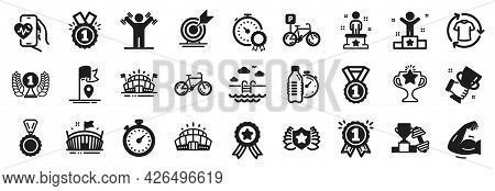 Set Of Sports Icons, Such As Best Result, Winner, Fitness Water Icons. Arena, Success, Arena Stadium