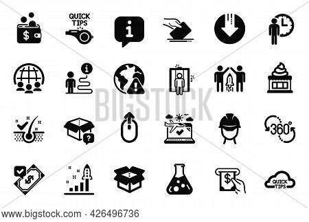 Vector Set Of Business Icons Related To Waiting, Ice Cream And Partnership Icons. Development Plan,
