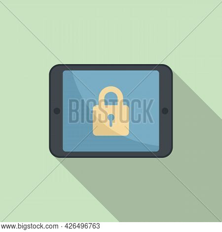 Tablet Locking Icon Flat Vector. Secure Lock. Data Mobile Tablet
