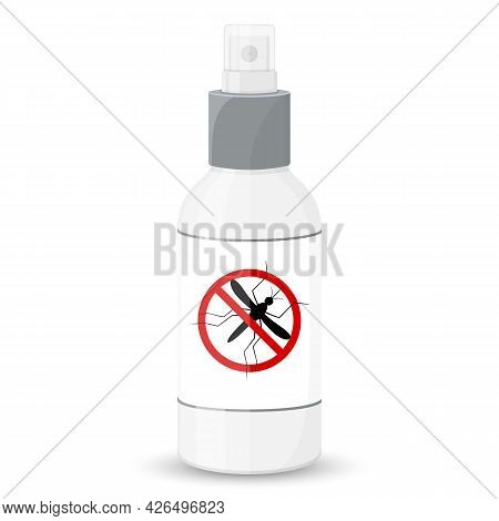 Mosquito Free Spray, Isolated On White Background. Insects Repellent Vector Bottle. Flat Style. Inse