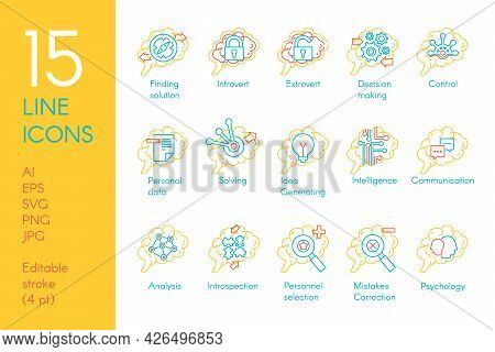 Brain Mind Function Collection Icon Set Vector