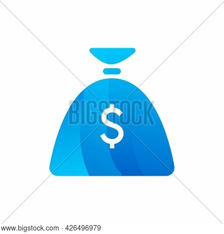 Money Bag For Carry Coins Or Banknotes Icon Vector
