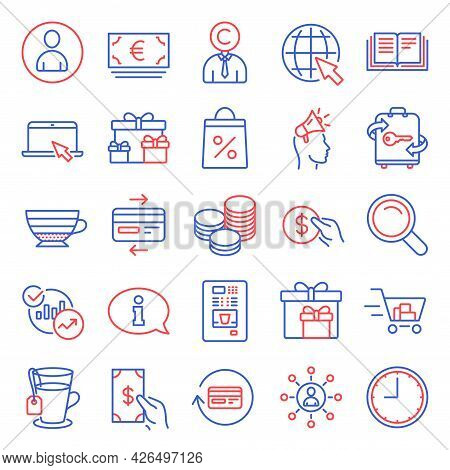 Line Icons Set. Included Icon As Brand Ambassador, Delivery Boxes, Portable Computer Signs. Credit C