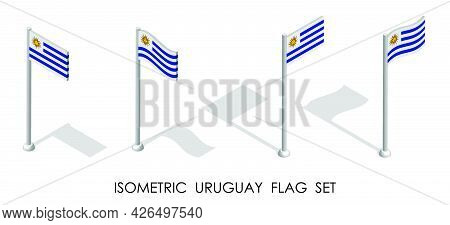 Isometric Flag Of Uruguay In Static Position And In Motion On Flagpole. 3d Vector