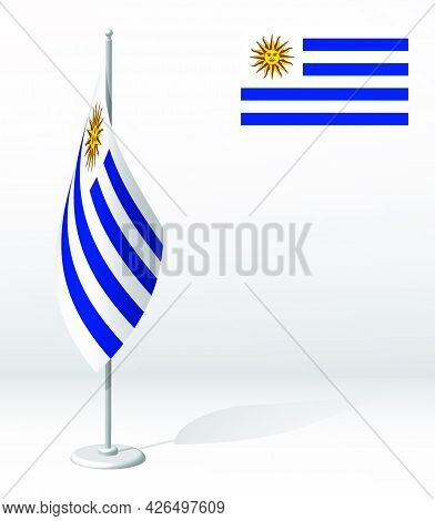 Uruguay Flag On Flagpole For Registration Of Solemn Event, Meeting Foreign Guests. National Independ