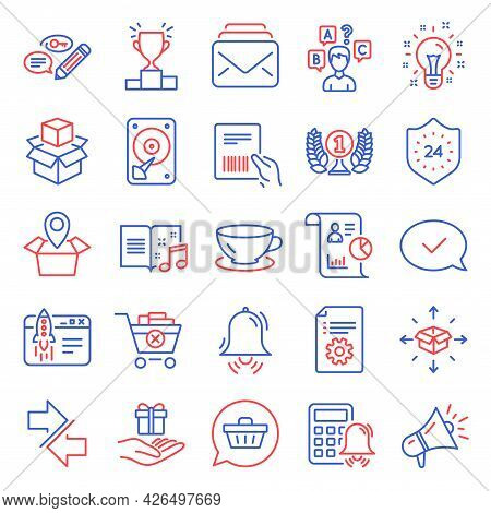 Line Icons Set. Included Icon As Report, Remove Purchase, 24 Hours Signs. Parcel Invoice, Technical