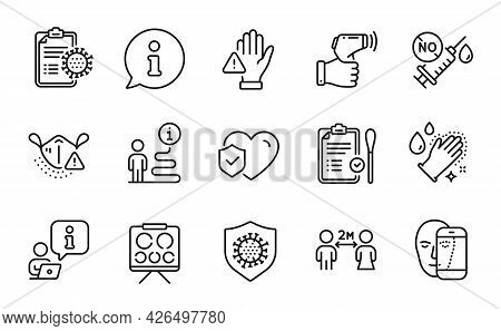 Medical Icons Set. Included Icon As Life Insurance, Electronic Thermometer, Medical Mask Signs. Soci