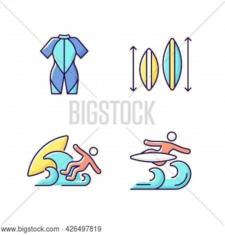Surf Riding Rgb Color Icons Set. Wetsuit. Choosing Surfboard Size. Surf Wipeout. Flight Maneuver. Ke