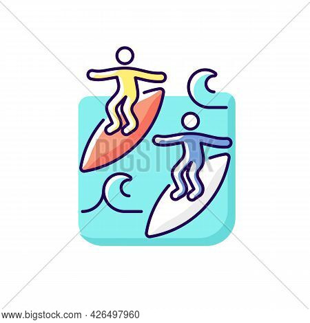 Surfing With Mate Rgb Color Icon. Isolated Vector Illustration. Catching Waves With Surf Coach And E