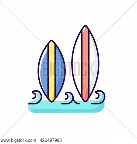 Surfboard Rgb Color Icon. Isolated Vector Illustration. Long, Narrow Board For Surfing Sport Usage.