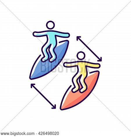 Keeping Distance Between Surfers Rgb Color Icon. Isolated Vector Illustration. Preventing Surfing In