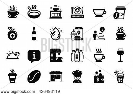 Vector Set Of Food And Drink Icons Related To Market, Espresso And Coffee Cup Icons. Medical Food, T