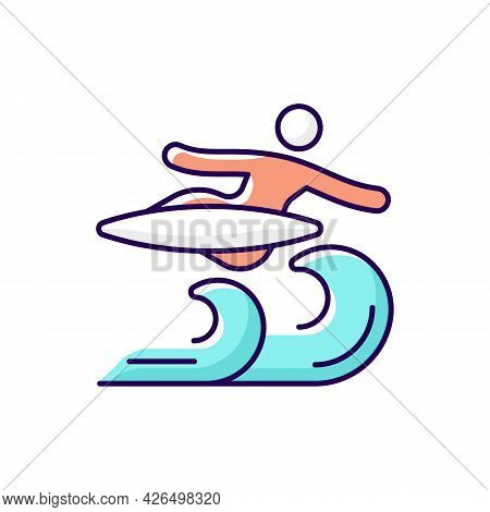 Air Surfing Technique Rgb Color Icon. Isolated Vector Illustration. Flight Maneuver. Flying Above Wa