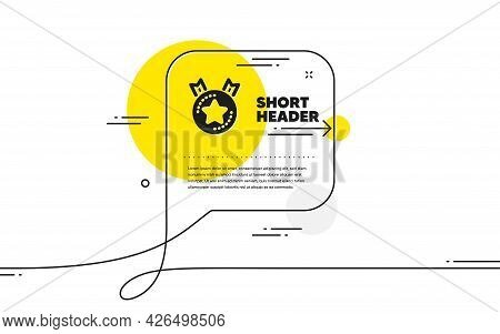 Ranking Star Icon. Continuous Line Chat Bubble Banner. Winner Medal Sign. Best Rank Symbol. Ranking