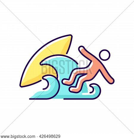 Surf Wipeout Rgb Color Icon. Isolated Vector Illustration. Being Thrown Off Surfboard By Breaking Wa