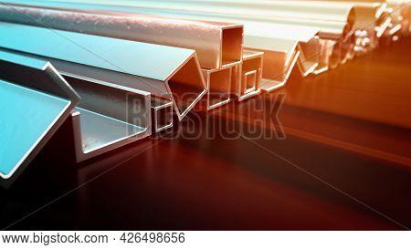 Glowing Rolled Metal And Rebar . Cgi Industrial 3d Rendering