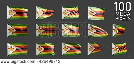 Zimbabwe Flag Isolated - Different Realistic Renders Of The Waving Flag On Grey Background - Object