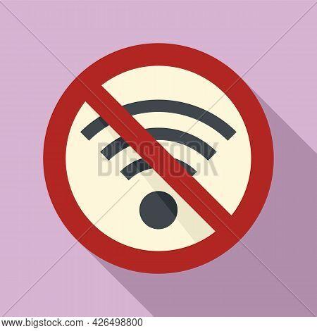 No Wifi Icon Flat Vector. Internet Network. Bad Signal Wifi