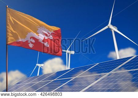Bhutan Renewable Energy, Wind And Solar Energy Concept With Wind Turbines And Solar Panels - Alterna